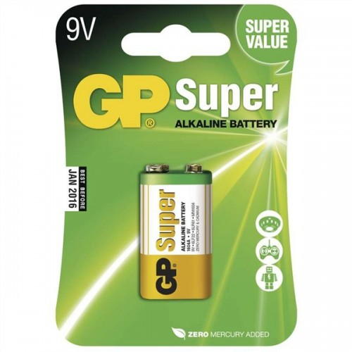 Baterie alkalická GP Super 9V, blistr 1ks