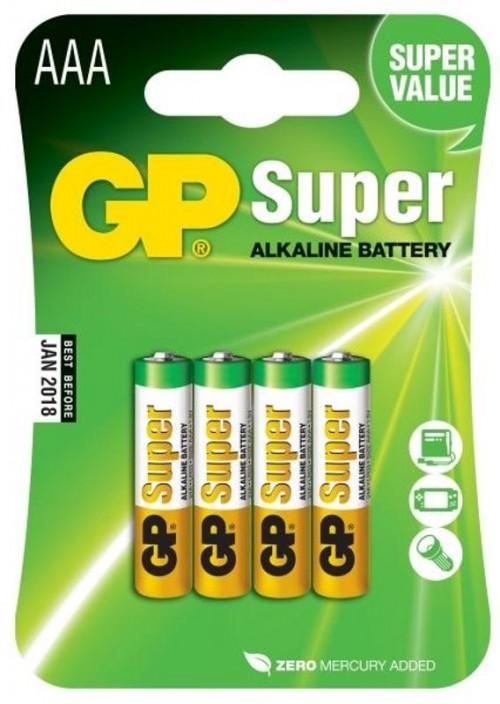 Baterie alkalická GP Super AAA, LR03, blistr 4ks