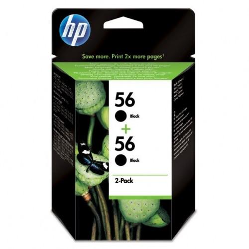 Inkoustová náplň HP No. 56, *19ml, 900 (2x450) stran,  2 pack originální - černá