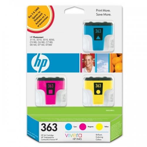 Inkoustová náplň HP No. 363, 400 stran originální - červená/modrá/žlutá