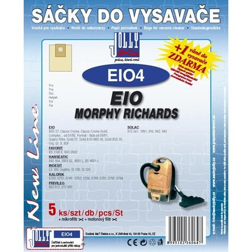 Sáčky do vysavače Jolly EIO 4 (5+1+1ks) do vysav. EIO, MORPHY RICHARDS