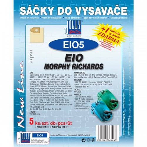 Sáčky do vysavače Jolly EIO 5 (5+1+1ks) do vysav. EIO, MORPHY RICHARDS