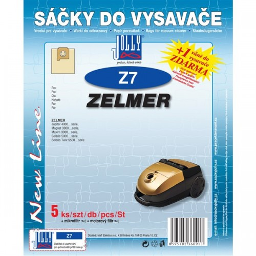 Sáčky do vysavače Jolly Z 7 (5ks) do vysav. ZELMER Magnat 3000, Jupiter 4000, Maxim 3000, Solaris 5000