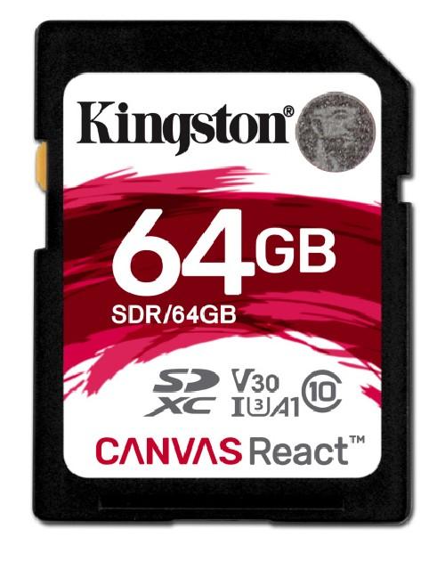 Paměťová karta Kingston Canvas React SDXC 64GB UHS-I U3 (100R/80W)