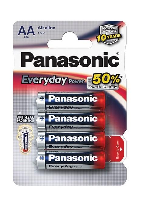 Baterie alkalická Panasonic Everyday AA, LR06, blistr 4ks