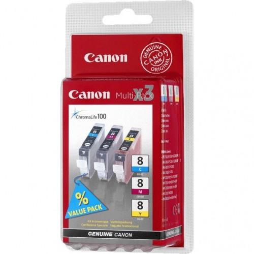 Inkoustová náplň Canon CLI-8 CMY, 420 stran originální - červený/modrý/žlutý