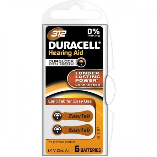 Baterie do naslouchadel Duracell Duralock DA312, blistr 6ks